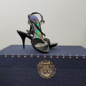 Wild Rose Black Stilettos w Rhinestone Prom Shoes